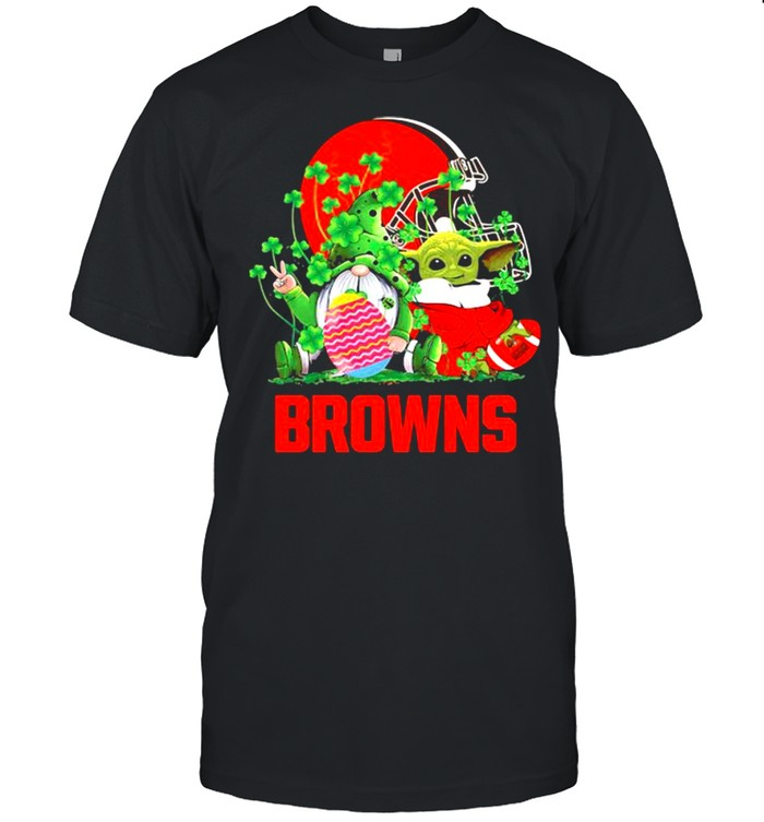Browns Football Baby Yoda Vs Gnome Happy Easters And St Patricks Day  Classic Men's T-shirt