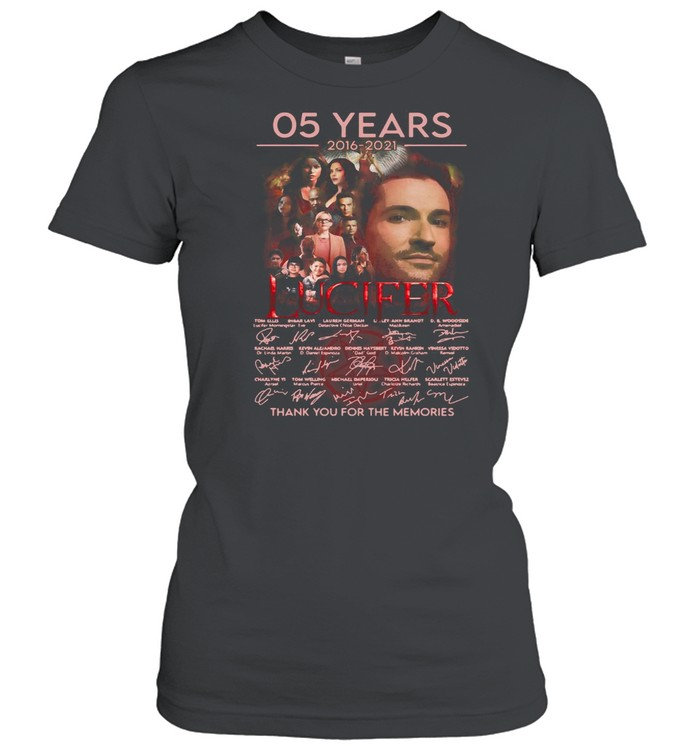 Lucifer 05 Years 2016 2021 Signatures Thank You For The Memories T-shirt Classic Women's T-shirt