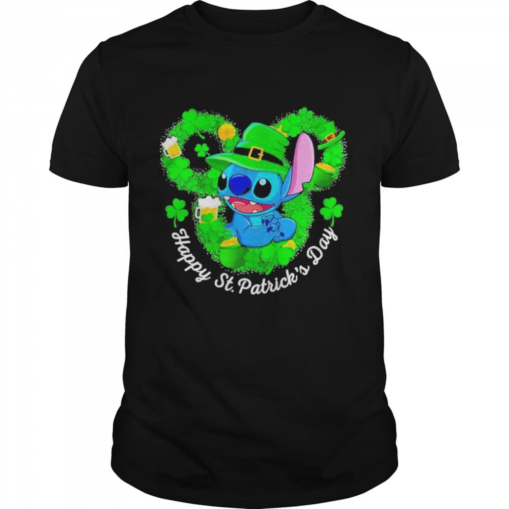 Disney Mickey Stitch Irish Stitch Happy St. Patrick's Day  Classic Men's T-shirt