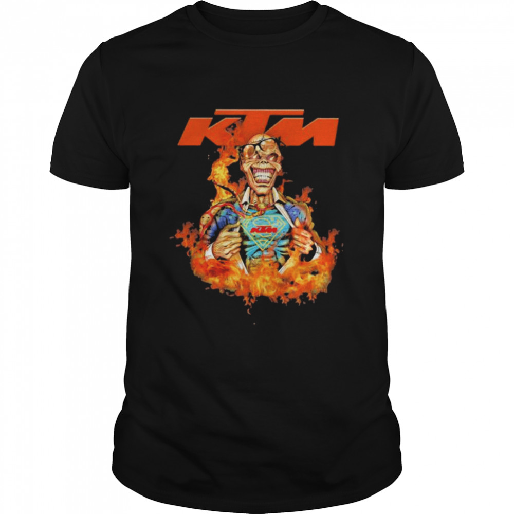 Skull Superman With Logo Ktm Motorcycle Fire  Classic Men's T-shirt